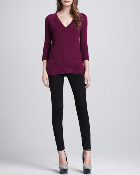Ankle-Zip Skinny Jeans, Black