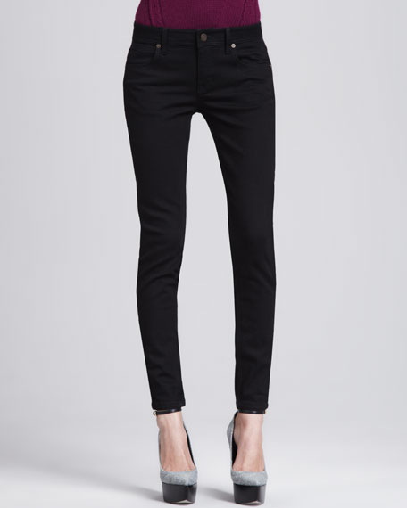 Ankle-Zip Skinny Jeans, Black