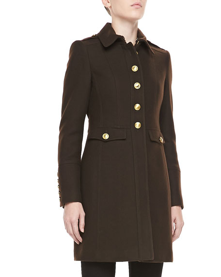 Removable-Shearling-Collar Coat, Dark Glove Brown