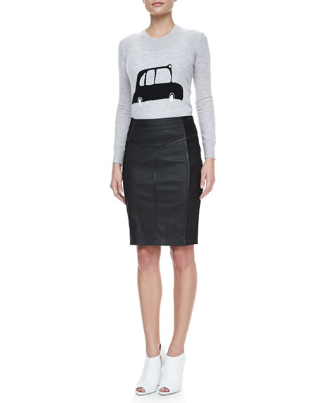 Suede-Sided Leather Pencil Skirt