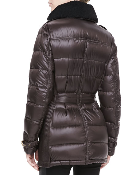 Shearling-Collared Quilted Puffer Coat, Clove/Brown