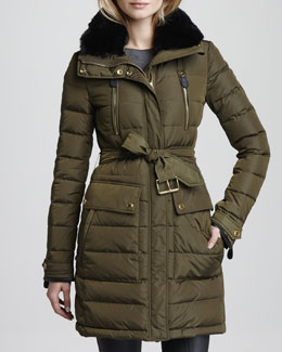 Burberry Brit Rabbit Fur-Collar Down Jacket, Dark Bayleaf