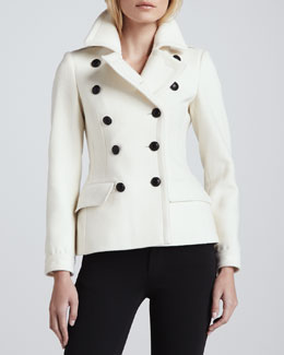 Burberry Brit Pleated Back Wool-Cashmere Peacoat, Natural White