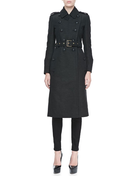 Long Wool-Blend Twill Coat, Dark Olive