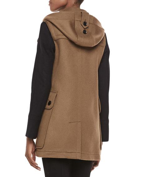Two-Tone Wool Duffle Coat, Camel/Black