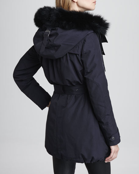 Rainwear Parka with Fox-Fur Trim Hood