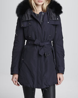 Burberry Brit Rainwear Parka with Fox-Fur Trim Hood