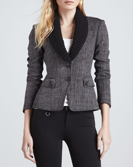 Knit-Collar Leather-Patch Blazer