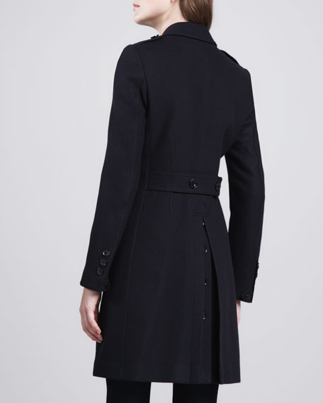 Button-Vent Double-Breasted Coat, Navy