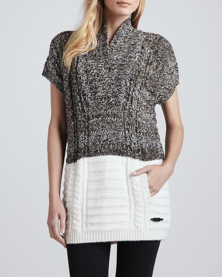 Short-Sleeve Two-Tone Tunic Sweater, White Mouline