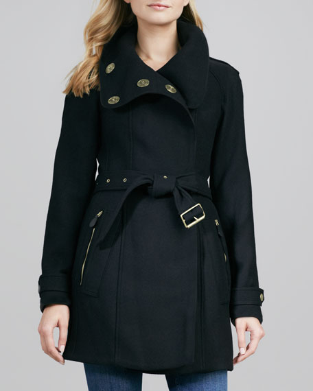Asymmetric Funnel-Neck Coat, Black