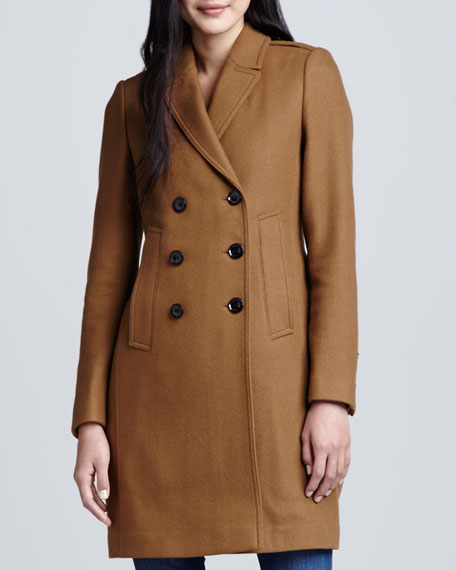 Button-Vent Double-Breasted Car Coat, Dark Camel