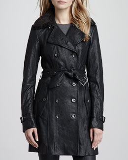 Burberry Brit Shearling-Collar Leather Trenchcoat