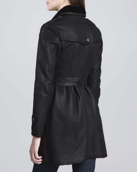 Burberry Brit Double-Breasted Shearling-Lambskin Coat, Black