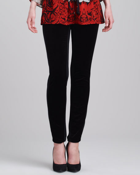 Velvet/Jersey Leggings, Black