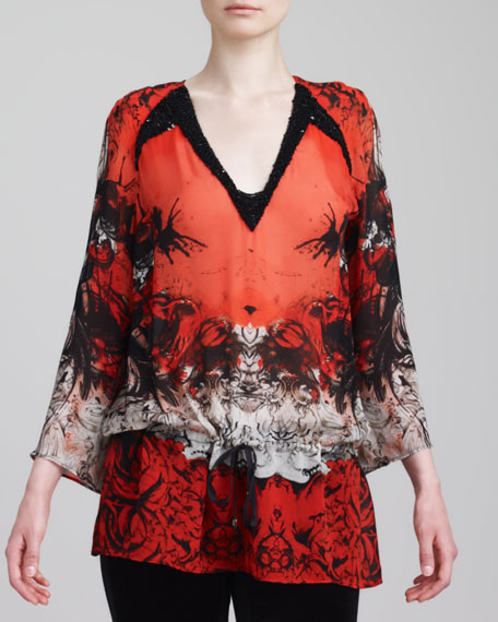 Beaded Printed Caftan Top, Red