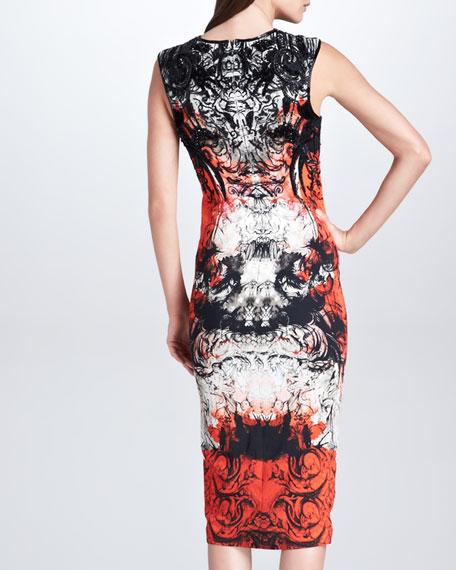 Printed Midi Sheath Dress, Mona Lisa Red