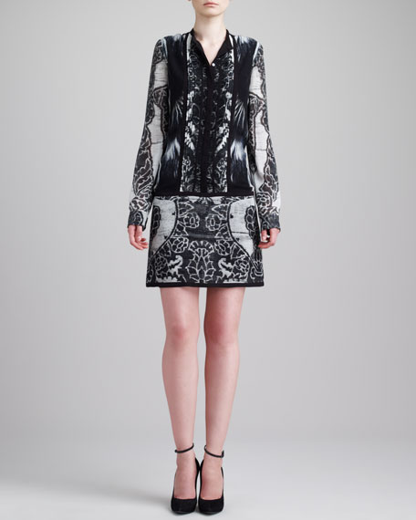 Lace-Print Drop-Waist Dress, Black/White