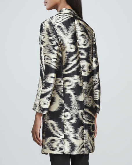 One-Button Wrap-Jacquard Coat, Black/Gold