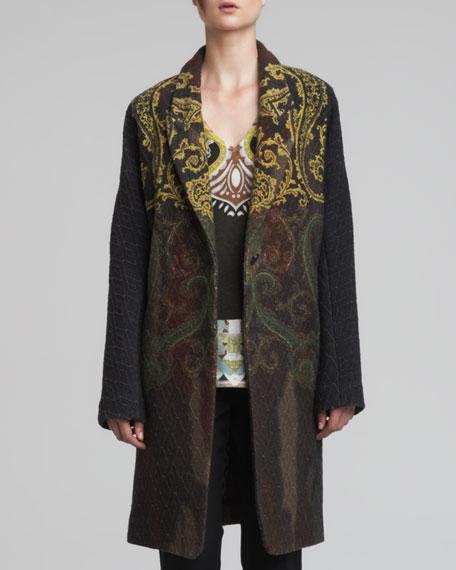 Paisley Printed Coat, Green