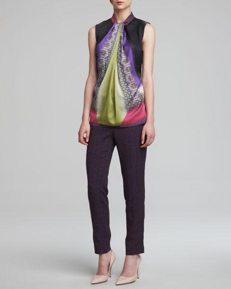 Snake-Print Cady Pants, Purple