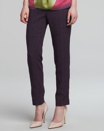 Snake-Print Cady Pants, Purple