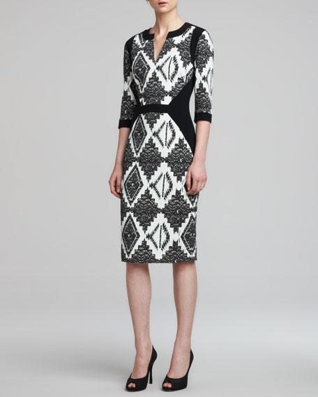 3/4-Sleeve Mixed-Print Cady Dress