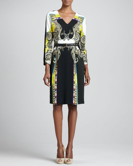 Printed Pleated Bracelet-Sleeve Dress