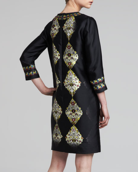 3/4-Sleeve Printed Silk Twill Dress, Black/Multi