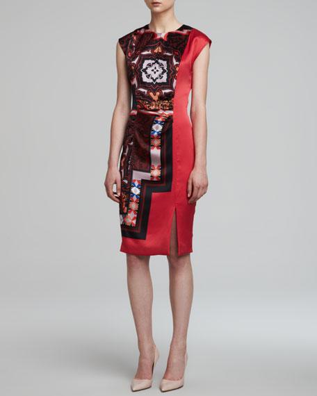 Printed Charmeuse Keyhole Dress, Red