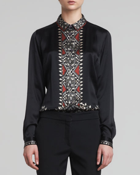 Printed-Placket Silk Blouse, Black