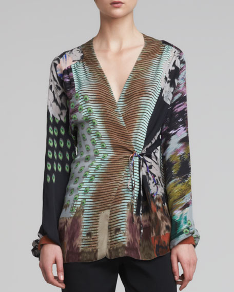 Printed Chiffon Wrap Blouse, Multicolor