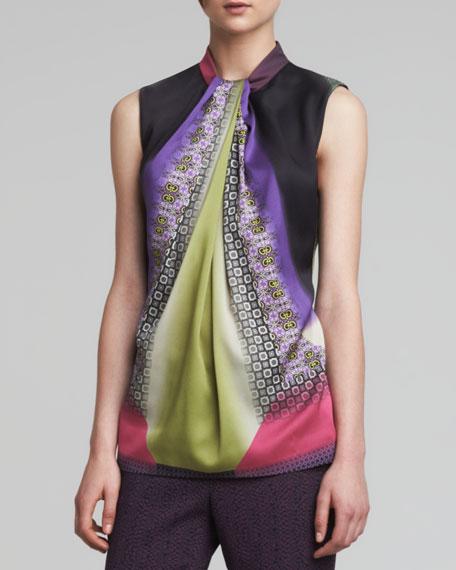 Printed Faux-Ascot Blouse, Multicolor
