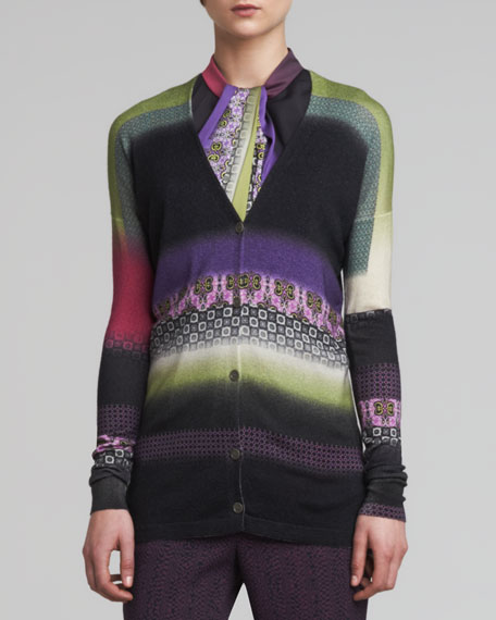 Printed Silk-Cashmere Cardigan