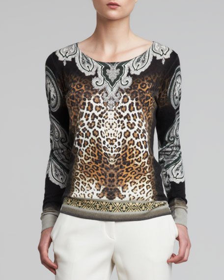 Round-Neck Animal Paisley Blouse
