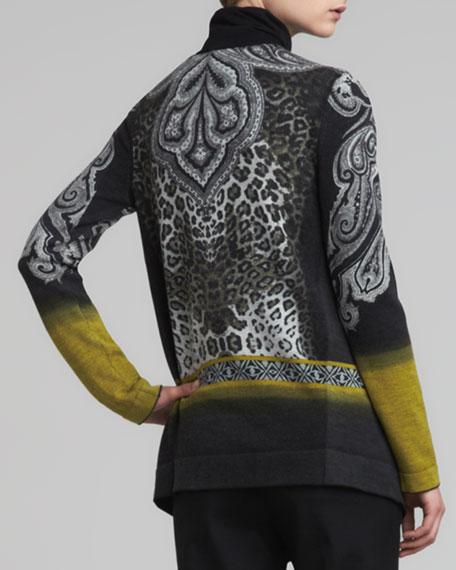 Animal-Print Wool Cascade Cardigan