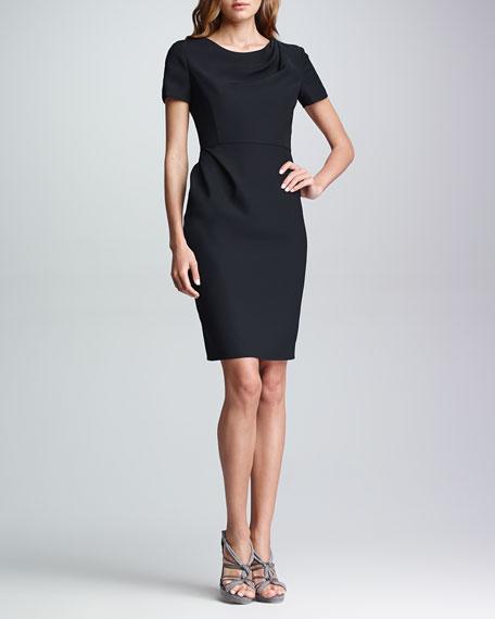 Drape-Front Short-Sleeve Dress, Black