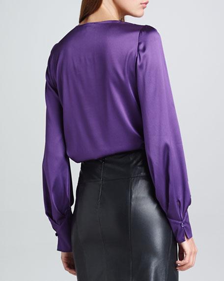 Asymmetric-Button Blouse, Violet