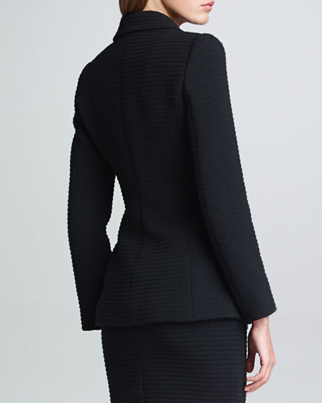 Hidden-Button Matelasse Jacket, Black
