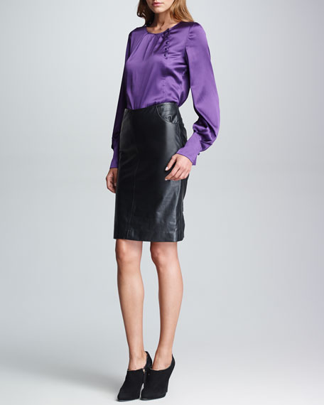 Pocketed Leather Pencil Skirt, Black