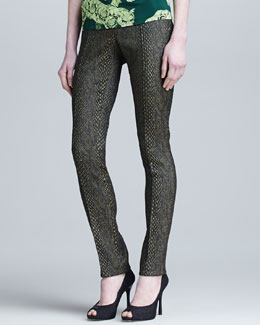 Versace Collection Slim Reptile Jacquard Medusa-Hardware Pants