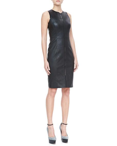 Sleeveless Leather Sheath Dress