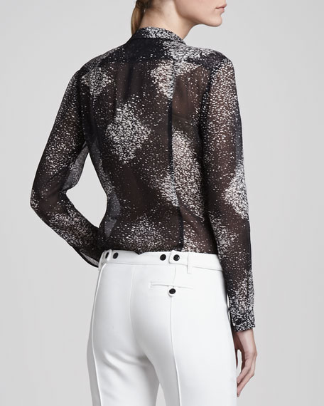 Semisheer Button-Up Blouse, Black/White