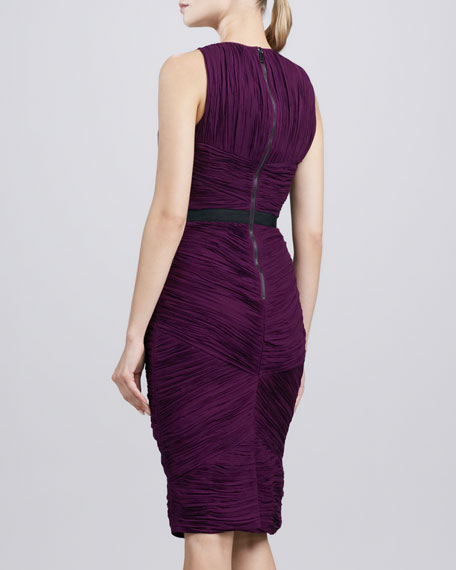 Gathered Sheath Dress, Deep Purple