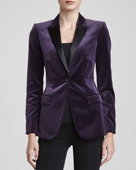Velvet Satin-Lapel Jacket