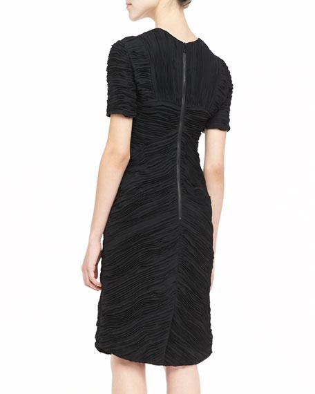 Short-Sleeve Ruched Dress, Black