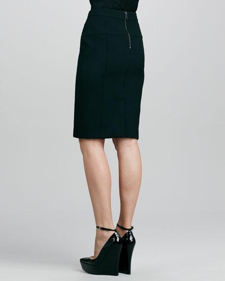Calf Hair-Center Pencil Skirt, Black