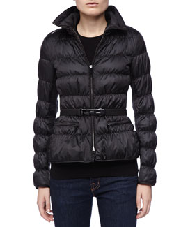 Burberry London Belted Puffer Coat with Hidden Hood