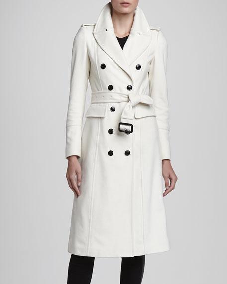 Burberry London Oversize Military Coat, Winter White