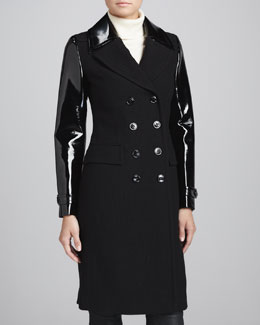 Burberry London Mohair-Blend Patent-Sleeve Military Coat